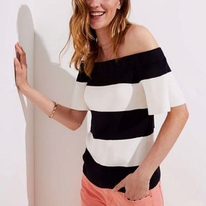 LOFT Off the Shoulder Striped Knit Top NWT